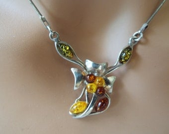 multi color baltic amber sterling silver pendant necklace flower bow