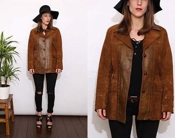 Vintage 70s Brown Suede Leather FurJacket Coat. Medium.