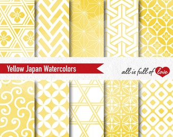Yellow Watercolor Patterns Yellow Background Baby Shower Digital Paper Yellow Wrapping Paper Watercolor Japanese Paper Seamless