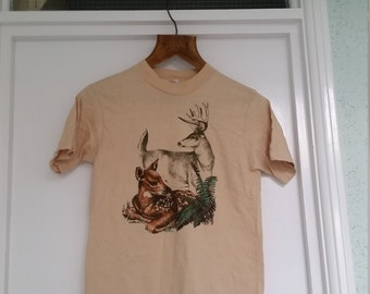 Vintage Hipster Buck Fawn Deer T-Shirt / Small - Medium (38-40) /Retro Graphic Tee Wilderness Screen Print 1980s 1990s in Tan / Festival
