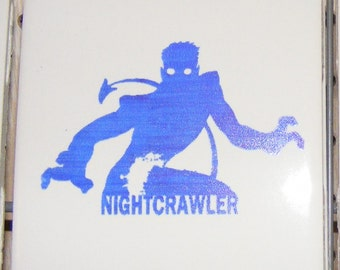 "Laser engraved 4.25"" x 4.25"" Square ceramic tile Nightcrawler for Coaster or Plaque"