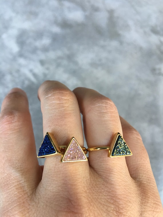 Triangle Druzy Ring, Druzy Jewelry, Aunt Gift, Sister gift