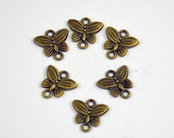 50Beads Charm butterfly bronze Plated Victorian Pendants Base Beads ----- 14mm ----- 50Pieces E02