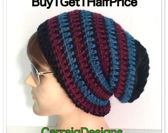 BUY1GET1HALF Price,Designer mans/mens/unisex hand crocheted/knitted oversized slouch beanie tam snood hat,guy boyfriend,black blue wine tam