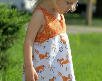 Foxglove PDF Pattern, cross-back tunic sewing pattern, sizes NB, 3mo, 6mo, 12 mo, 18mo, 2t, 3t, 4t, 5, 6, 7, 8, 10, 12, 14