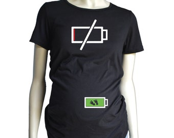 Dead Battery Mom MATERNITY Shirt, Themed Pregnancy T-Shirt, Maternity Fit Tee