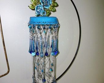 Stunning Blue Handmade Wind Ornament - artist made and signed