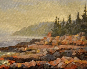 "coast of Maine, 5"" x 7"" original oil painting landscape"