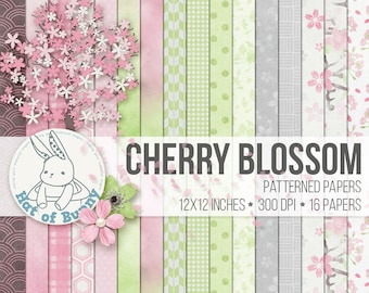Asian Digital Papers - Japanese Pastel Watercolor Floral - Hanami - Scrapbook Card Invitation Stickers