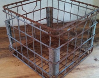 Vintage industrial metal crate , metal wire crate , metal milk crate , dairy crate , rusty metal crate