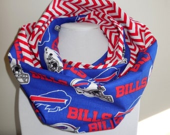 Buffalo Bills Scarf - Bills Infinity Scarf - Double Loop - Blue Red White Chevron - Stripes - Zig Zag - Lightweight Indoor  - Cotton