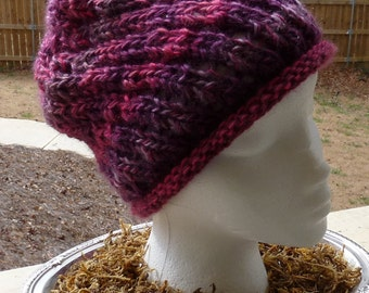 Girls Pink and Purple Knit Hat, Pink Hat, Purple Hat, Girls Slouch Hat, Free Shipping