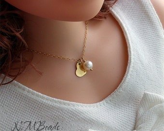 Girls Freshwater Pearl Necklace With Heart Gold Filled Delicate Simple Children Teenage Jewelry Birthday Gift For Kids