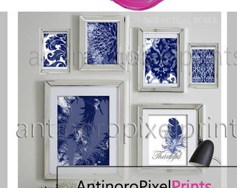 Ikat Feather Thankful Navy Watercolor White Collage Wall Art Set of (6) Prints - (1) 11x14,(1) 8x10, (2) 5x7 (2) 4x6  #279270888 (Unframed)