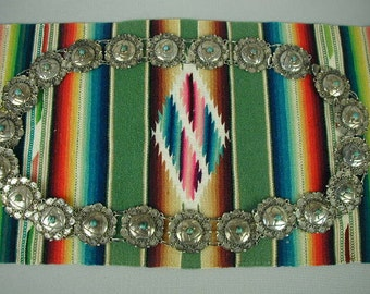 Vintage Southwest Style Mexican Silver Concho Belt with Turquoise,  Signed, Mid-Century