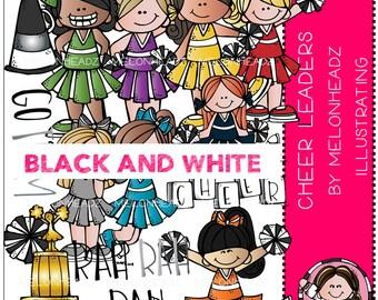 Cheerleader clip art - BLACK AND WHITE
