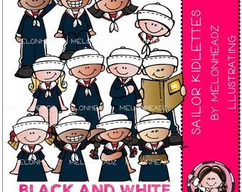 Sailor clip art - Kidlettes - BLACK AND WHITE