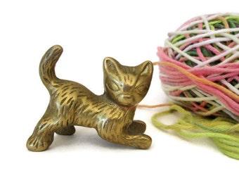 Brass Kitten, Vintage Figurine,Cat Lovers Gift, Collectible, Nature Organic Decor, Animal Lovers,  Littles, Playful Kitty Cat, 1970s