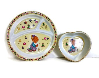 Melamine Divided Child's Plate and Bowl, Nursery, Little Girls, Yellow Vintage Dish Set