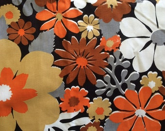 Cute Vintage 60s Mod Big Daisy Flower Fabric Orange, Grey and White Daisies Large Scale Floral Cotton Canvas By the Yard Cute Bright Fun