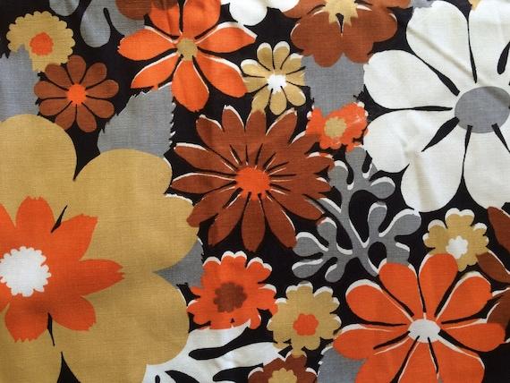 Cute Vintage 60s Mod Big Daisy Flower Fabric Orange Grey And