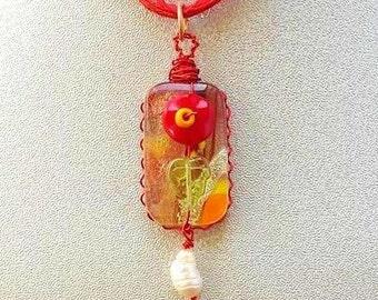 Red Flower Dichroic Glass Pendant