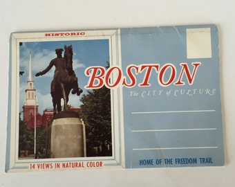 Boston Souvenir Folder / Vintage Boston Mass Souvenir Booklet 20 Photos / Boston Images by Bromley & co.