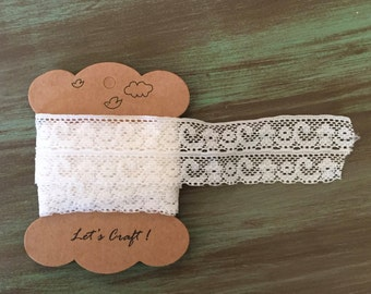 "Cream Lace / 1.86 Yards Vintage Chemical Lace Trim Cream 1 3/8"" for Altered Art, Mixed Media, Sewing Crafts #215"