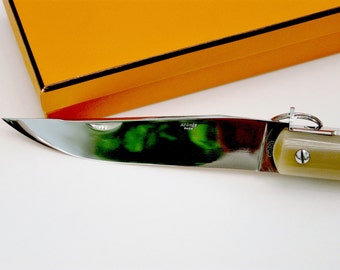 Authentic Hermes Buffalo Horn Folding Knife Crafted by Jacques Mongin with Box