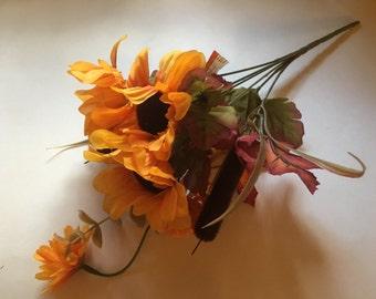 sunflower and cattail bouquet  (R10)