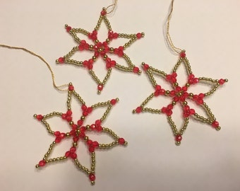 set of 3 beaded on wire gold and red Star Ornaments, 3 inch (A1)