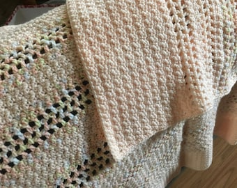 36 x 38 inch Baby Blanket in peach and multicolor, (BRCL)