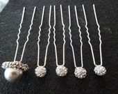 Vintage Hair Pin Set of 5 with Rhinestones and Faux Pearl, Excellent Condition