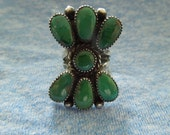 Vintage Native American Ring, Julie O Lahi, Silver Ring with Green Stones.  Size 4.  Make Offer