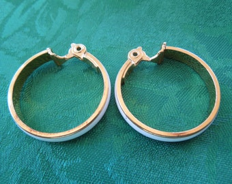 Vintage Monet Earrings, Hoops in Gold Tone with White Enamel,  Signed, Clip On Type.