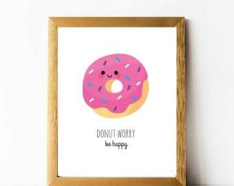 Donut Worry be Happy Print 8 x 10