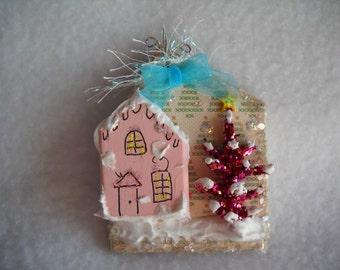 Christmas ornament, Christmas decoration, Christmas village ornament, holiday decoration, seasonal miniatures, glitter tree, mini houses
