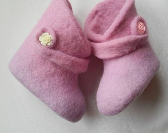 Felted booties for newborn girl