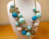 J CREW Sea Foam, Turquoise and Crystal Beaded Bauble Necklace Item K # 298