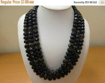 ON SALE Vintage West Germany Black Facetted Plastic Triple Strand Necklace Item K # 2330