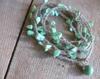 Turquoise bracelet necklace, Turquoise chips gemstone, december birthstone, crochet linen bracelet, Bohemian, crochet bracelet,Boho romantic