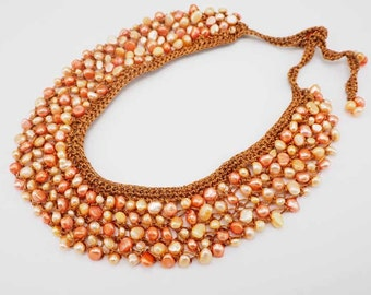 Brown freshwater pearl net necklace