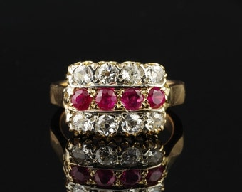 Victorian 1.00 Ct  natural ruby 1.60 Ct diamond rare antique ring