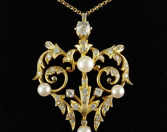 Art Nouveau 1.80 Ct old mine diamond and pearl rare pendat