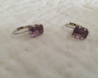 Vintage 925 Sterling Silver with Purple Gemstone Design Earrings, 1/4'' Square