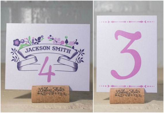 Dreams Come True Place Cards & Table Number Cards, Purple Wedding Reception Name Cards