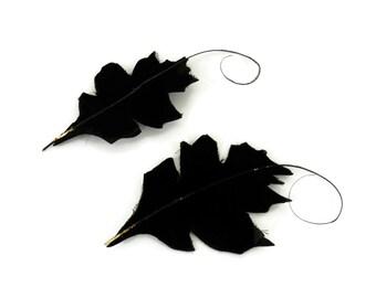 Edwardian Black Leaves Antique Milliner Set of 2