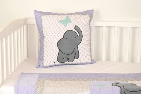 Elephant Pillow Decorative Kids Pillow Boy Nursery Decor, Teal Purple Gray