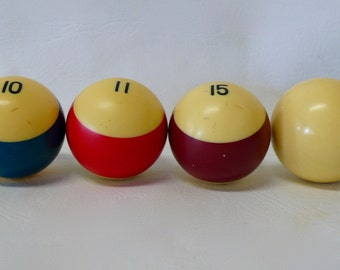 Vintage Phenolic Resin Billiard Pool Ball Set of 4 Three Stripes Striped Stripe One Cue Ball Price includes all 4