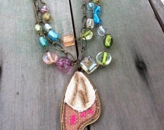 Mixed Elements Necklace/Multi Strand/Boho
